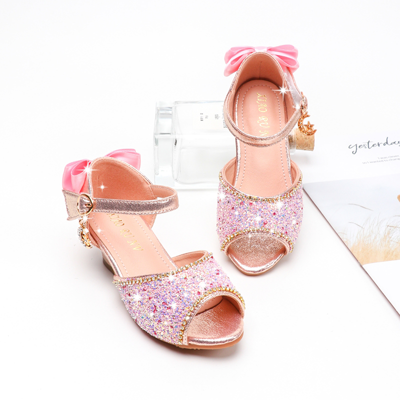 Girls Sandals Summer Bowtie Glitter Rhinestone High Heel Leather Shoes Kids Shoes For Girl Princess Princess Sandals SJD031
