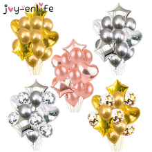 14pcs/set 18inch Heart Star Foil Balloon 12inch Confetti Latex Balloons Birthday Wedding Party Decor Globos Accessories Supplies 12inch gold latex balloons heart foil balloons confetti balloon patry balloons wedding birthday party decor globos supplies