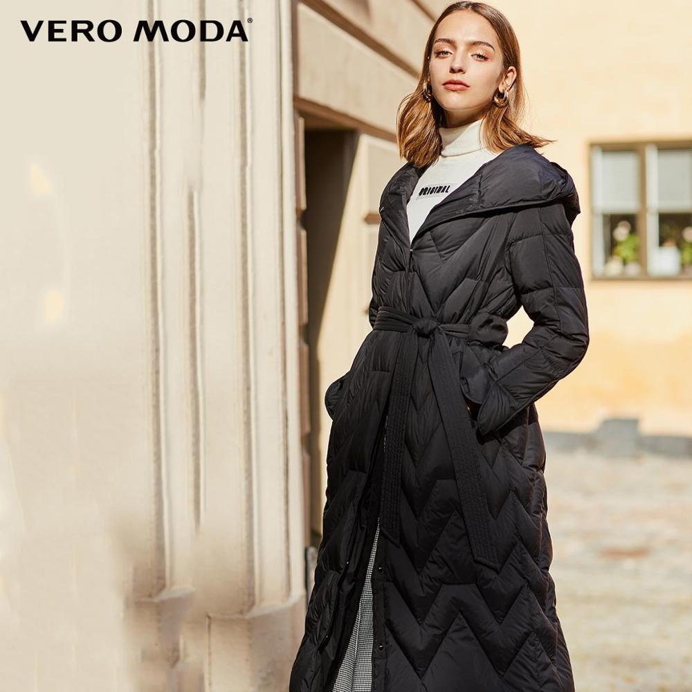 Vero Moda Women's Cinched Waist Hooded White Duck Down Jacket | 319412513