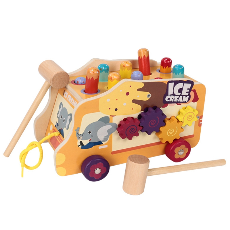Wooden Hammer Ice Cream Cart Children Fun Playing Hamster Whac-A-Mole Game Toy