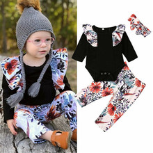 Newborn Baby Girl Kids Batwing Sleeve Black Top Floral Trousers Colorful Bow Headwear Clothes Sets floral print batwing sleeve dip hem top