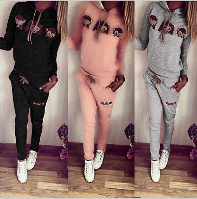 Cute Monkey 2020 New Design Fashion Hot Sale Suit Set Women Tracksuit Two-piece Style Outfit Sweatshirt Sport Wear