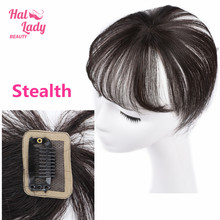 Halo Lady Beauty 360 Invisible Human Bangs Hair Seamless Transparent Lace Bangs Clip In Air Bang Fringe Hair Brazilian Non-remy