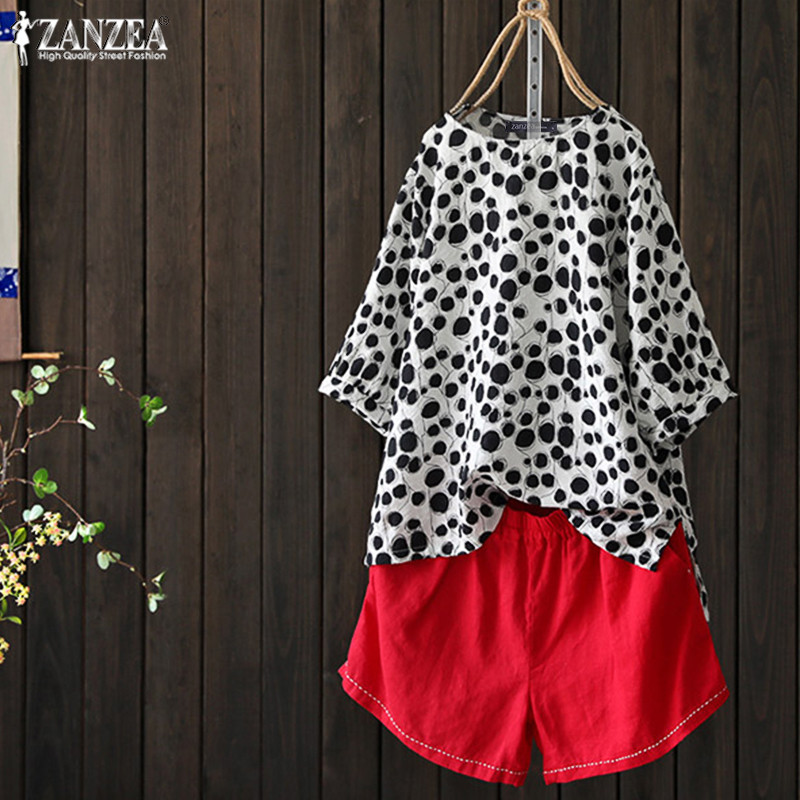 2020 ZANZEA Vintage Polka Dot Tops Women's Printed Blouse Casual 3/4 Sleeve Tee Shirts Female Pleated High Low Hem Blusas Tunic