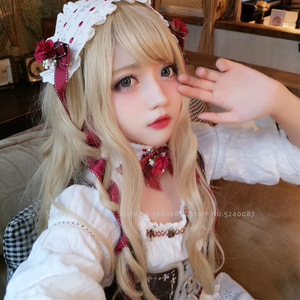Frauen Lange Lockige Haar Japanischen Anime Lolita Prinzessin Elf Party Cosplay Kostüm Mädchen Koreanische Rosa Perücke Karneval Leistung Kostüm