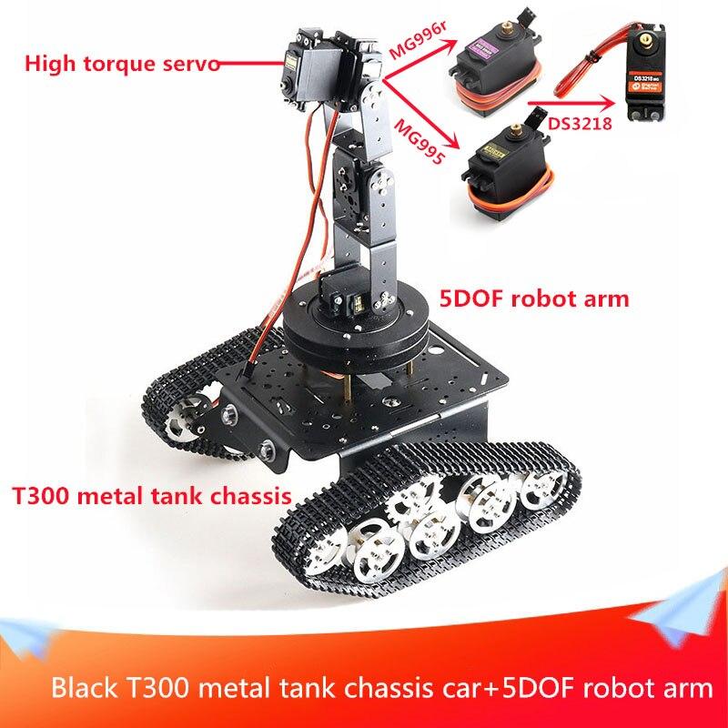 Black T300 Metal Tank Chassis Car+5DOF Robot Arm Mobile/Rotating Gimbal Kit 2pcs 9V Motors and High Torque Servo Remote Control