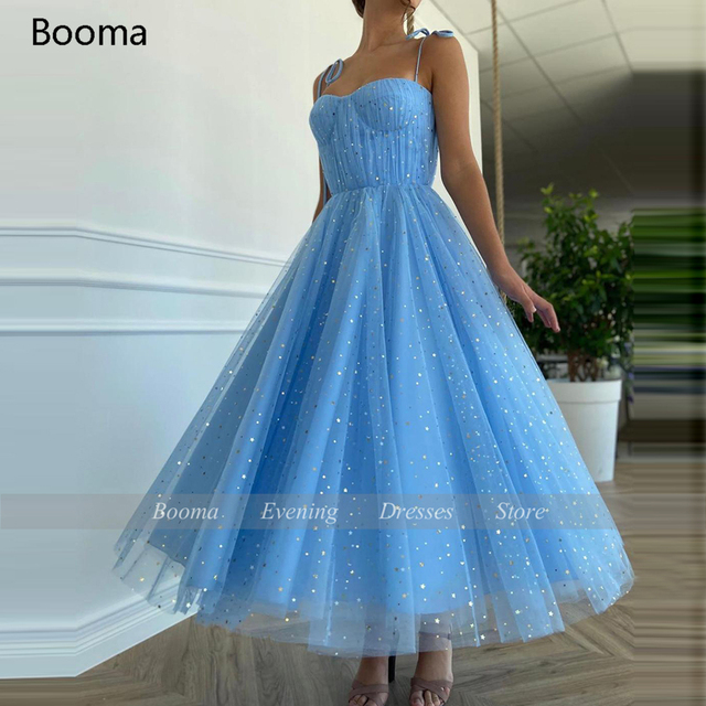 Fairy Blue Princess Prom Dresses Sparkly Starry Tulle Strapless Short Prom Gowns Pleated Tea-Length A-Line Formal Party Gowns 5