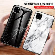 For iPhone 11 Pro max Case For iPhone 11 11 Pro 2019 Luxury High Definition Jade Marble Design Tempered Glass Cover Hard Case(China)