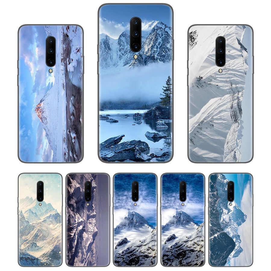 Schnee capped berge Schwarz Coque Telefon Fall Für Oneplus 1 + 7 Pro 6 6T 5 5T 3 3T 7Pro Kunst Geschenk Muster Angepasst Abdeckung Mode