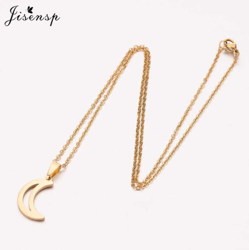 Jisensp Trendy Crescent choker z księżycem biżuteria ze stali nierdzewnej wisiorek naszyjnik dla kobiet dziewczyn codziennie biżuteria prezent