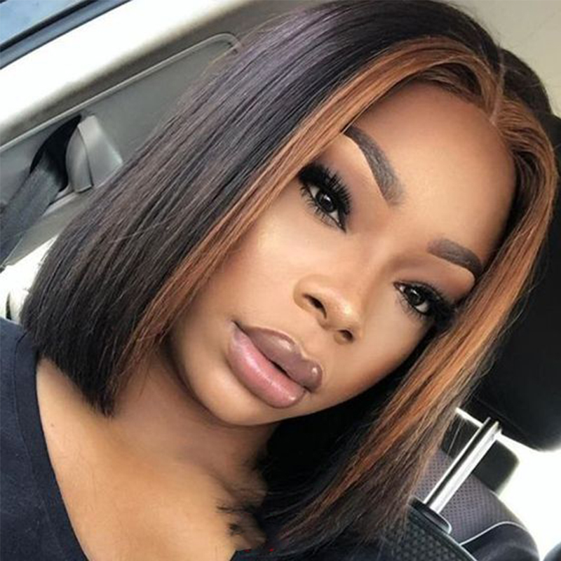 Ombre 13x4 Lace Front Human Hair Wigs Straight 2T Blonde Highlights Color Extra Pro.Ratio 150% Remy Short Bob Dolago Wig