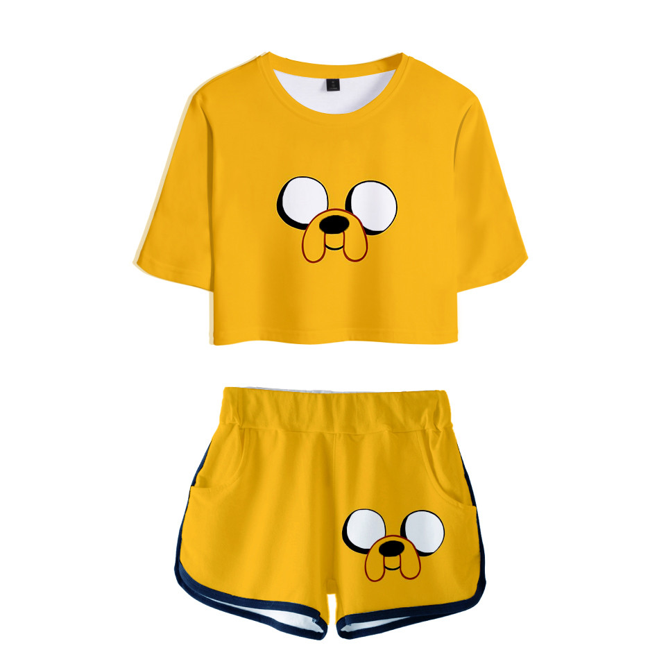 Adventure Time Finn And Jake The Dog Face Two Piece Set Summer Sexy Cotton T Shirt Woman Shorts And Crop Top Fashion Tracksuit