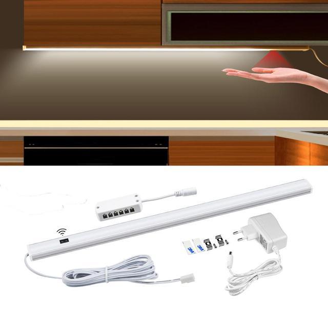 Sensor de movimiento de 12V lámpara de noche de barrido a mano inalámbrica Detector de escaneo de onda automático de encendido/apagado armario de cocina iluminación