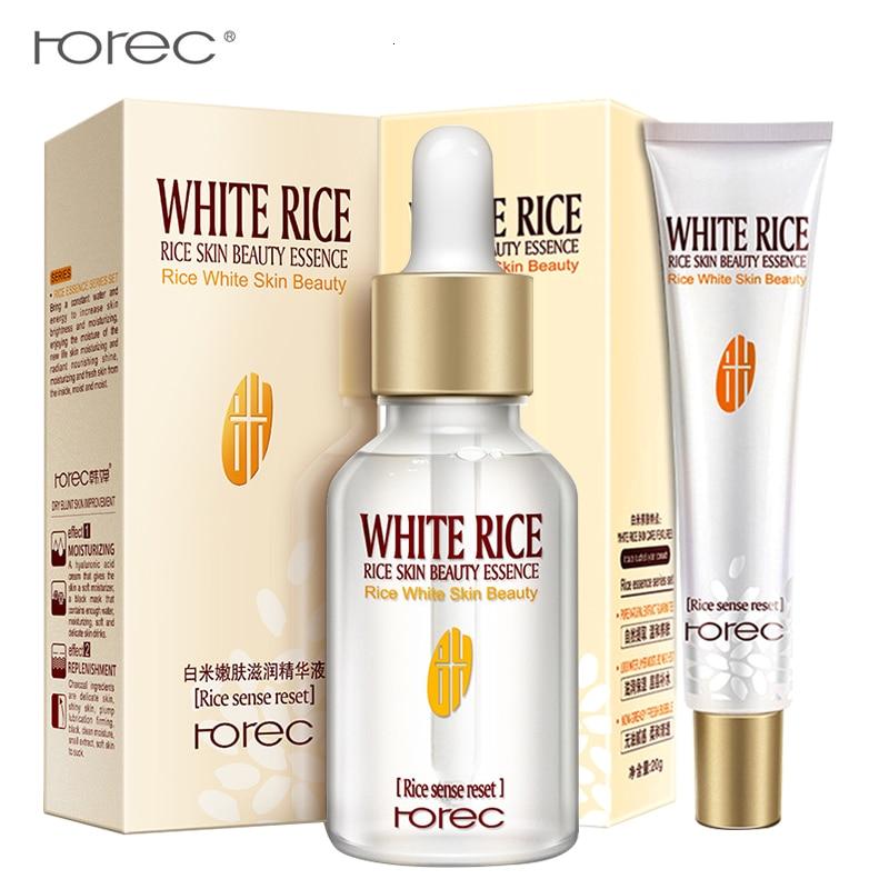 ROREC 2PCS White Rice Facial Serum+eye Cream Whitening Moisturizing Essence Skin Care Hydrating Anti-aging Dark Circle Removal