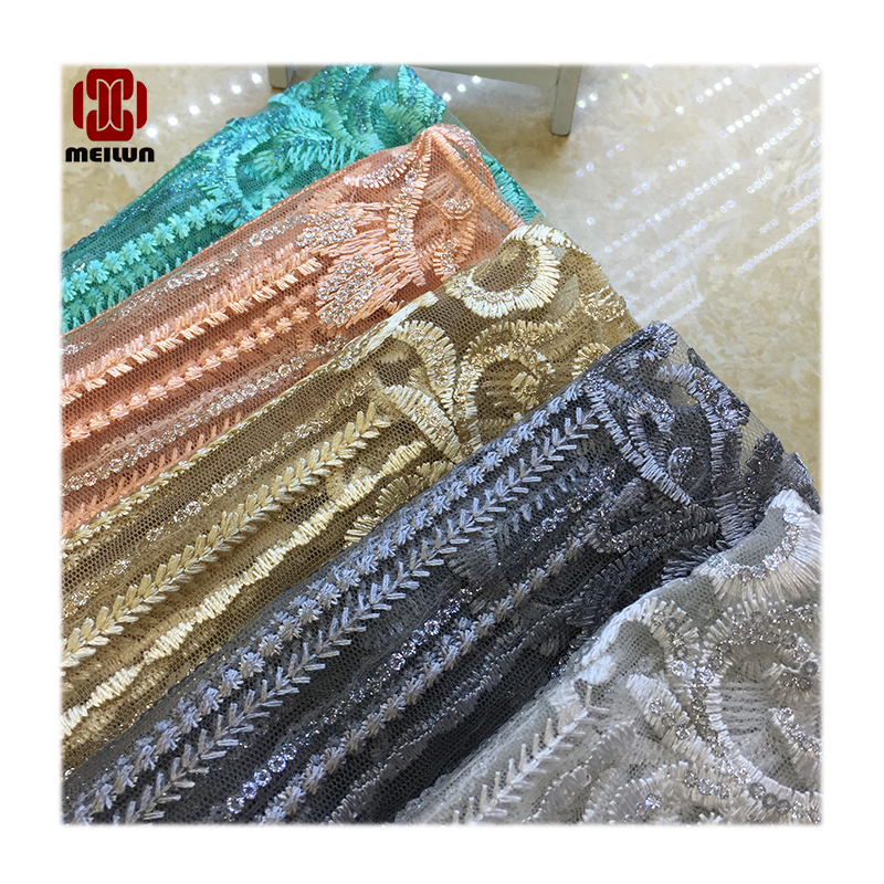 Novidades 2020 Tecnologia Latest Sequins Beads Tecnologia Fabric Top Grade Wedding Gown Dress Quality Lace Fabric Off Embroidery