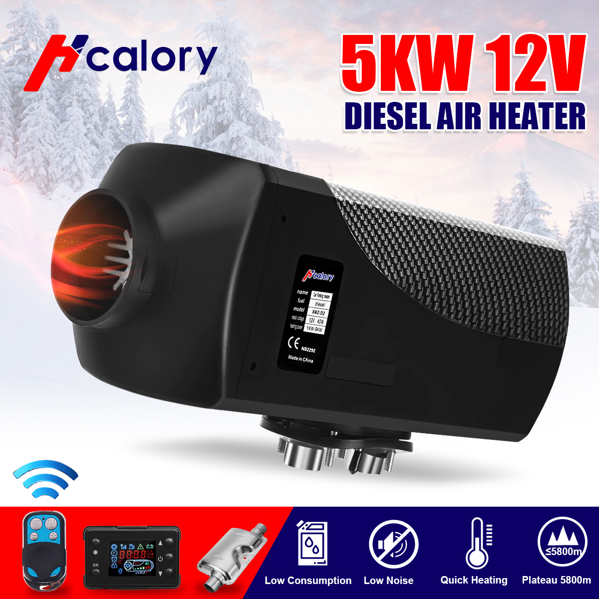 12V  24V 5KW Car Diesels Air Parking Heater Car Heater LCD Remote Control Monitor Switch   Silencer for Trucks Bus Trailer Heate