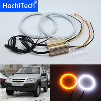 White & yellow Dual and only white color Cotton LED Angel eyes kit halo ring DRL Turn signal light for Chevrolet Niva 2009 2013