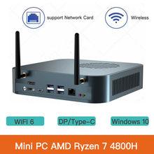 Güçlü Mini PC AMD Ryzen 7 4800H M.2 NVMe WiFi6 oyun bilgisayarı Windows 10 masaüstü DP desteği RJ45 1000M akıllı PC