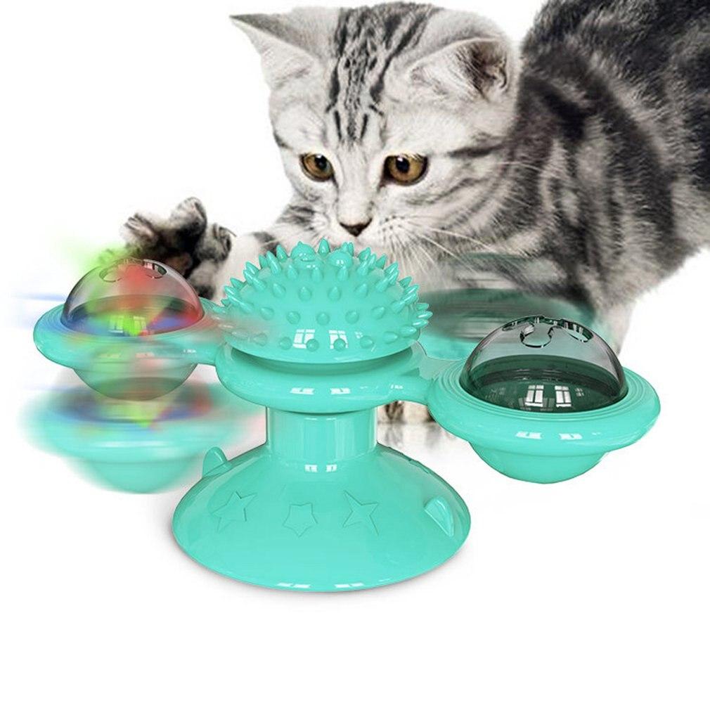 Игрушка для кошек, ветряная мельница, забавный массаж, вращающиеся игрушки для кошек с кошачьей мишкой, светодиодный мяч для чистки зубов, т...