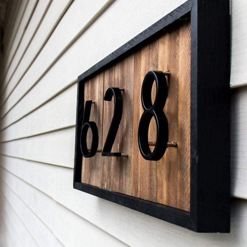 12cm Big 3D Modern House Number Door Home Address Numbers For House Number Digital Door Outdoor Sign Plates 5 Inch. #0-9 Black