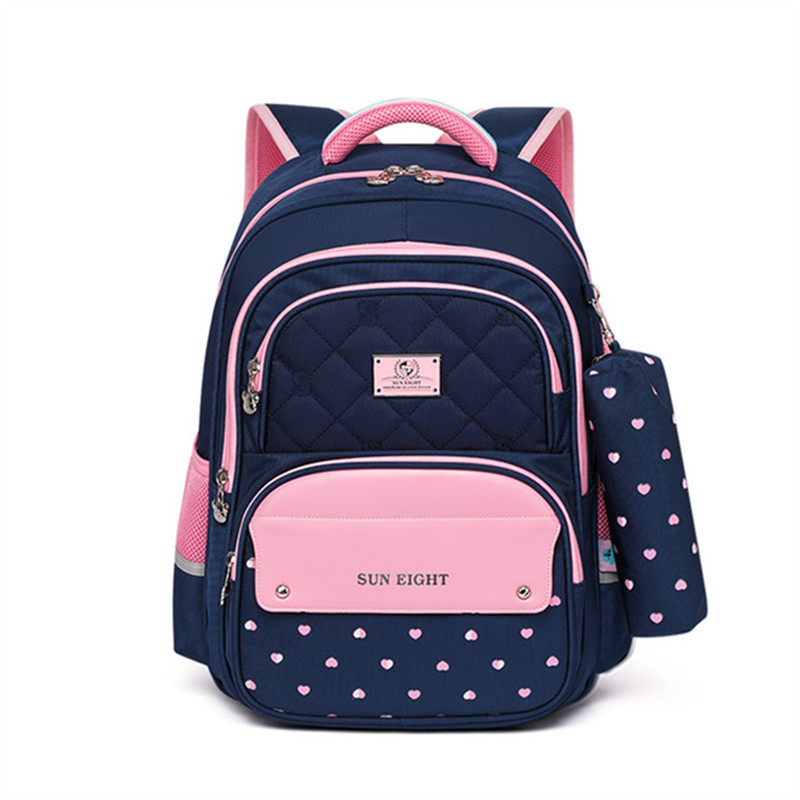 OKKID elementary school bags for girls polka dot bookbag kids cute pen pencil bag school girl student school backpack child gift