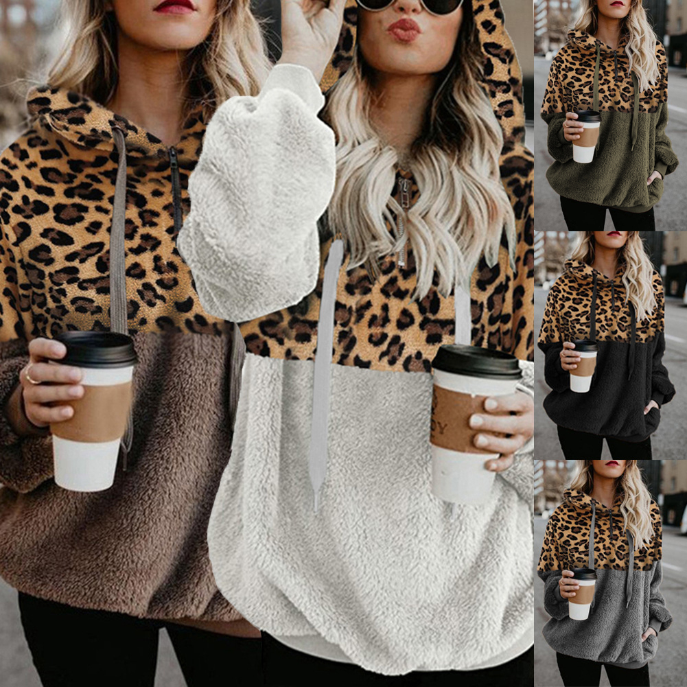 Teddy Hoodies Leopard Patchwork Sweatshirt Women Autumn Female Pocket Long Sleeve Fleece Warm Casual Hooded Winter Outerwear