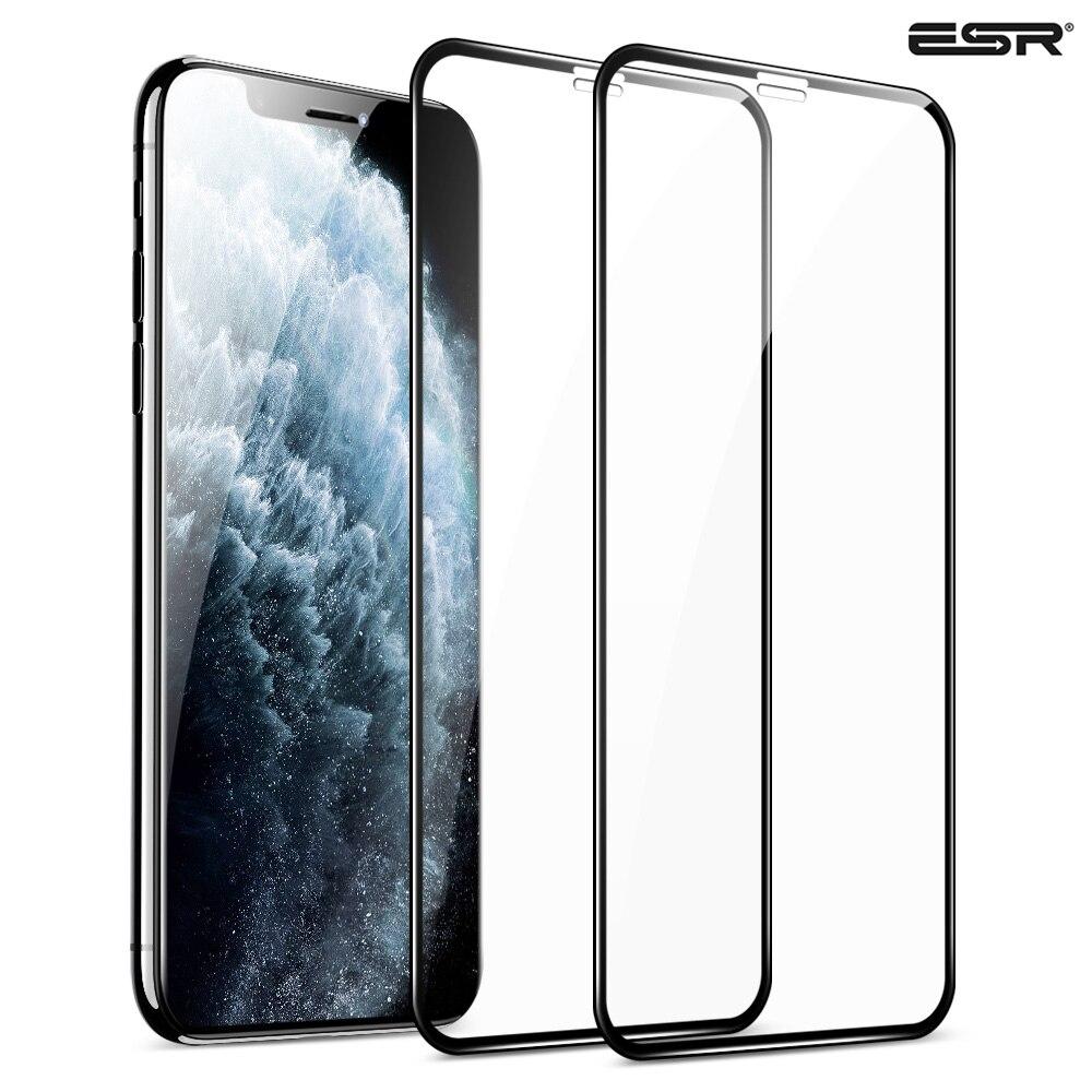Esr 2 pces protetor de tela para iphone 11 pro x xs xr xs max 3d cobertura completa fácil instalar claro premium protetor de vidro temperado