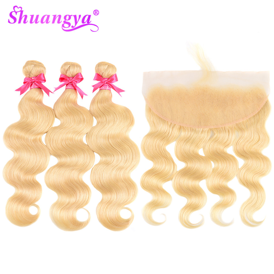 613 Bundles With Frontal Platinum Blonde Brazilian Body Wave Frontal With Bundles Remy Hair Blonde Bundles With Frontal Closure