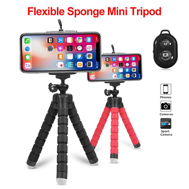 Statyw na telefon klip stojak na uniwersalny telefon elastyczny gąbka Mini statyw z Bluetooth zdalna migawka do aparatu iPhone