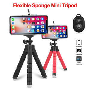 Tripod Phone Holder Clip Stand for Universal Phone Flexible Sponge Mini Tripod With Bluetooth Remote Shutter For iPhone  Camera