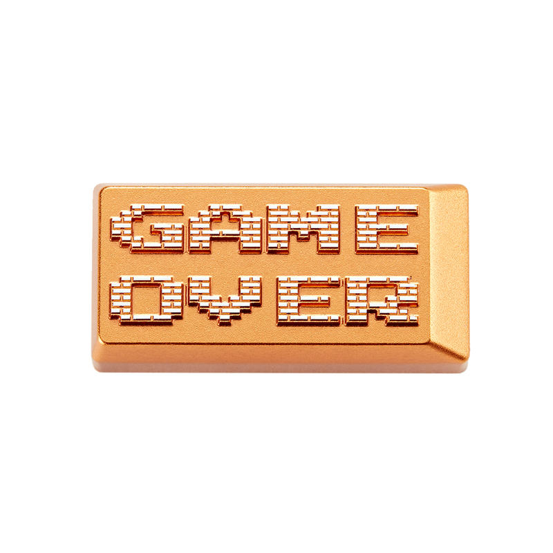 Zomo Gameover Game Over  Artisan Keycap CNC Anodized Aluminum Compatible Cherry MX Switch Backspace Gold Colorway