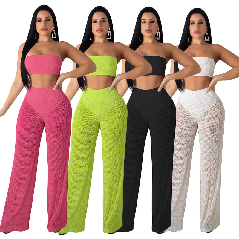 HHDMV MYF9393 sexy women high street sets sleeveless strapless short top elastic loose long pants pure color two piece sets