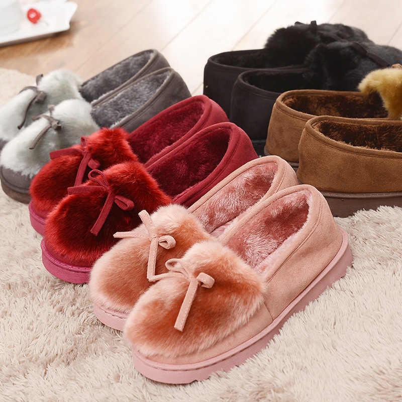 Dropshipping 2019 zapatillas cálidas Mujer Zapatos de invierno Bowtie Plush dentro de Loaferes señoras interior casa Pantuflas señoras Slip On