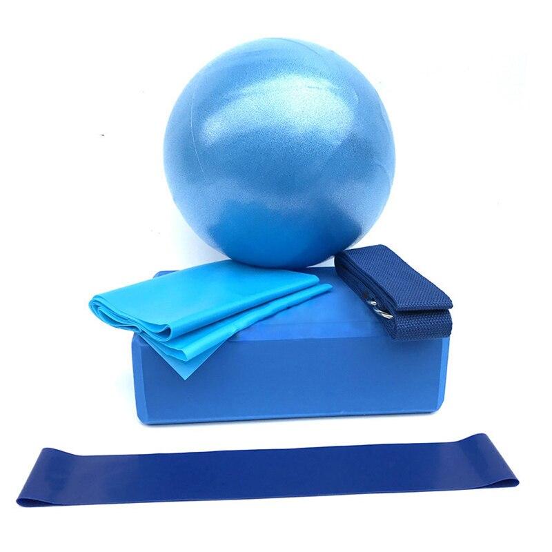 5pcs/set Blue Yoga Ball Set Yoga Equipment Set Include Yoga Ball Yoga Blocks Stretching Strap Resistance Loop Band Exercise