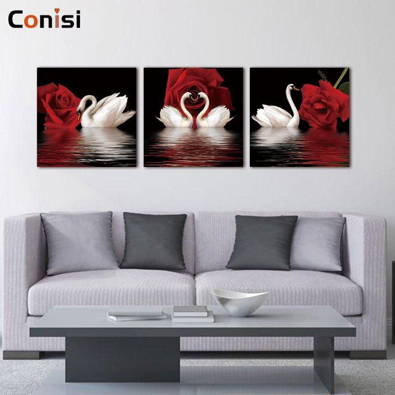 Conisi Affiche Murale Moderne Avec Cygne Rouge Et Blanc 3 Panneaux Imprimes Nordiques Peinture Sur Toile Pour Decoration De Maison Aliexpress