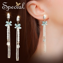 Special European and American S925 silver needle earrings long tassel display face thin fresh ins ear nail girl as song
