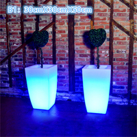 PE Plastic LED Flower Pots Floor Decoration Ince Buckets Rumba Square Glow Planter Vase Free Shipping