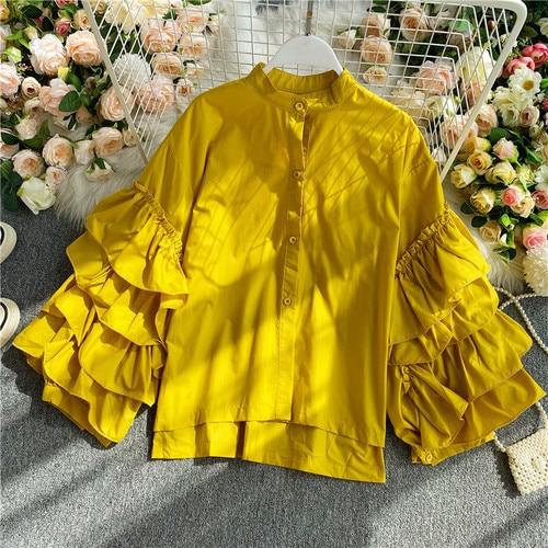 Gagarich Women Blouse Elegant 2020 Vintage Top Female Design Sense European Layer Trumpet Sleeve Long Sleeve Wild Shirt 9