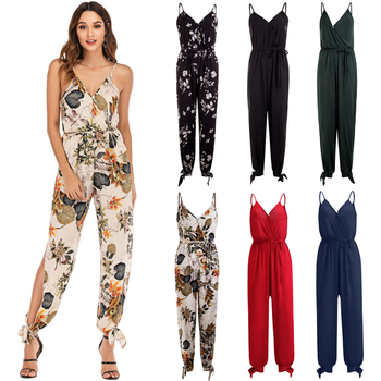 Fashion Casual Women Ladies Jumpsuit Floral Print Holiday Straps Romper Summer Playsuit Beach Backless Sleeveless Jumpsuit floral women fashion playsuit summer backless jumpsuit deep v straps print sling romper ns