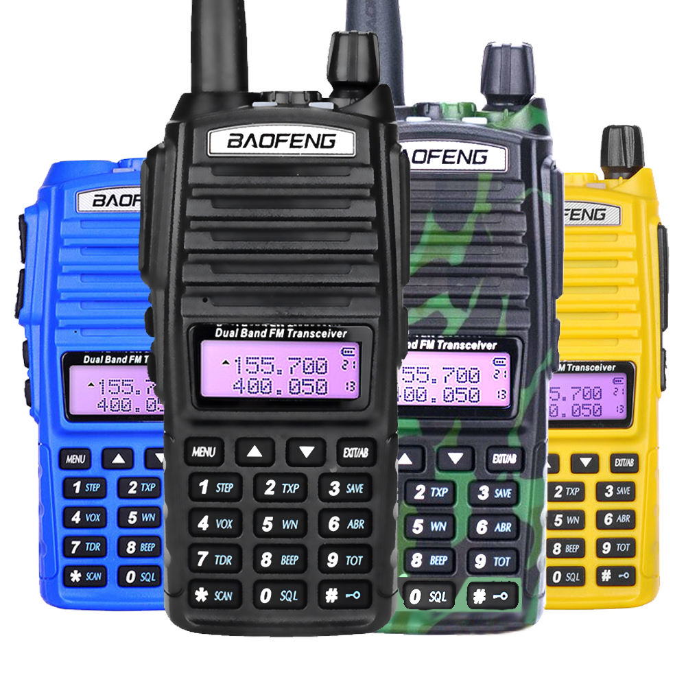Baofeng UV-82 Walkie Talkie Dual PTT UV 82 Portable Two Way Radio VHF UHF Ham CB Radio Station 1Pcs UV82 Hunting Transceiver