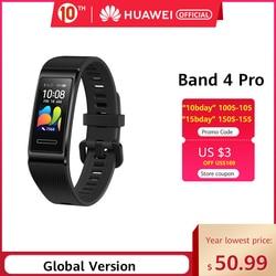 Глобальная версия Huawei Band 4 Pro Amoled 0,95 'металлический материал датчик сердечного ритма сна Браслет GPS
