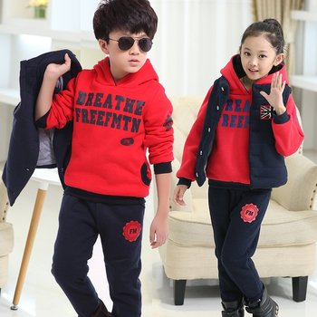 Winter Girls Vest + Hoodise + Pants Sets Warm Cotton Children Clothing Baby Boy Suit Thicken Teenagers Toddler Tracksuit 3-13Y