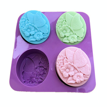 DIY Butterfly Flower Silicone Chocolate Soap Mold Oval Fondant Candle Craft Wax Mould Handmade Soap Making Mold Resin Clay Molds