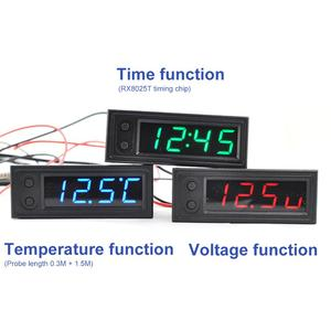 New DIY Multifunction High-precision Clock Inside And Outside Car Temperature Battery Voltage Monitor Panel Meter DC 5-28V Clock