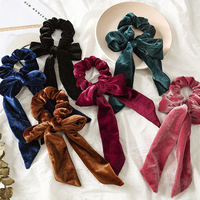2021 Fashion Velvet Bow Scrunchie Streamers Hair Scarf Elastic Hair Bands Women Girls Sweet Hair Accessories for Women