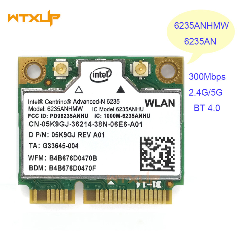 WTXUP wireless Lan Card for Intel Centrino Advanced-N 6235 6235ANHMW 6235AN Bluetooth 4.0 Mini PCI-E 2.4G/5Ghz Wlan+BT 4.0 Card(China)