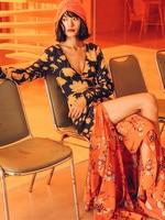 Original Design AIGYPTOS Spring Summer Women Bohemian Beach Casual Dresses Sexy V Neck Floral Print Ruffles Front Split Dresses