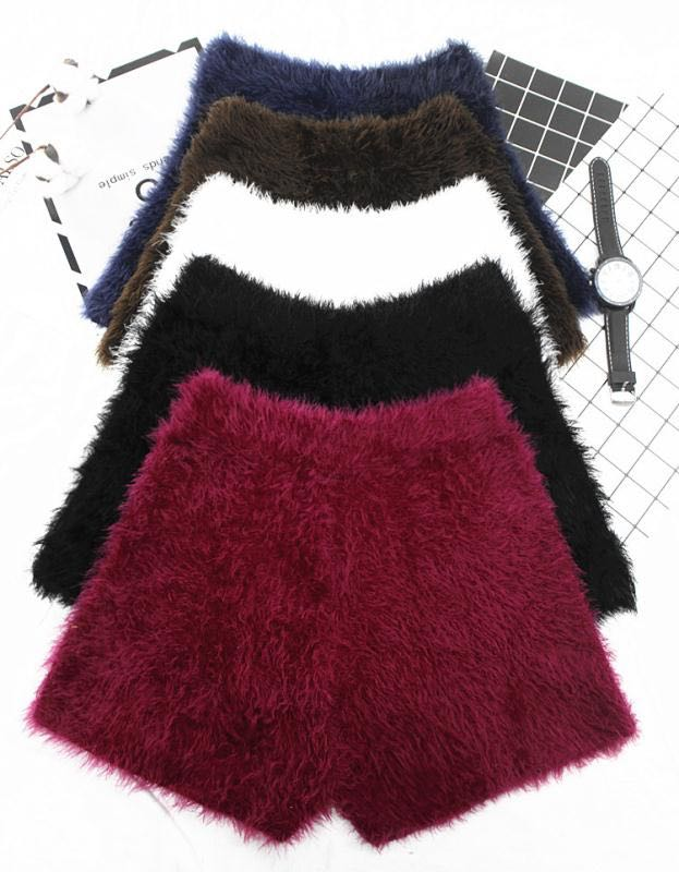 Autumn And Winter Women's Thick Mohair Fur Shorts High Waist Stretch Knitted Bootsthick Fur Warm Short Trousers