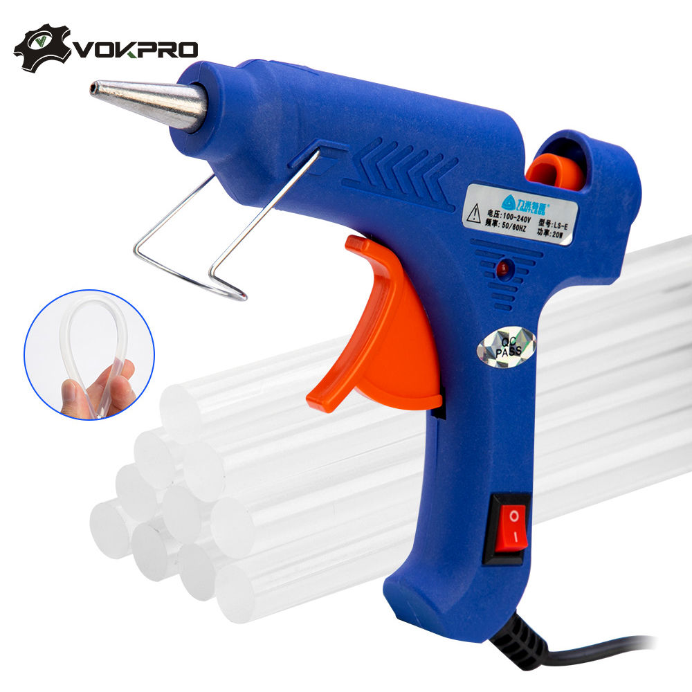 20w Hot Glue Gun Set With Glitter Stick Glue Gun 7*100mm Hot Melt Adhesive Sticks Rod For Gun Glue Craft Repair DIY-in Hot Melt Glue Sticks from Tools on