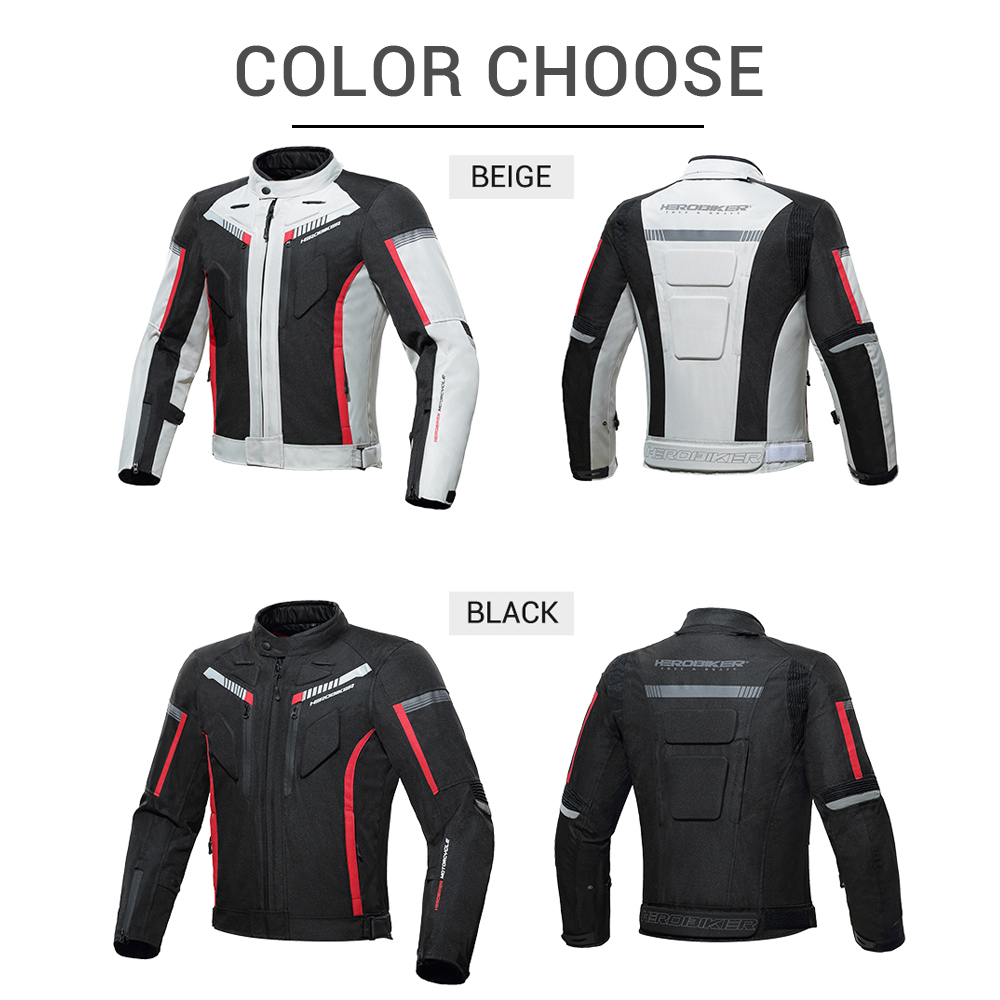 HEROBIKER Motorcycle Jacket Protective Gear Waterproof Moto Jacket Men's Motocross Clothing Motorcycle Suit With 5 Protector 2